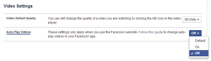 display autoplay facebook videos